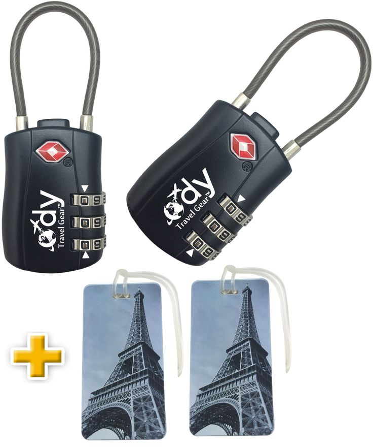 Best Luggage Locks for Travel TSA Approved with Gift Luggage Tags - 2 Pack  Available on Amazon.  Best rated luggage locks with exclusive Luggage Tags