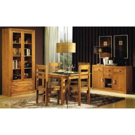Conjunto para Salón con libreria compuesto por una vitrina de puertas,estanteria y aparador de tres puertas y cajones, es elegante y sencillo pero a la vez moderno y muy robusto.