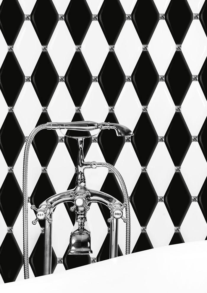 CARAT DUNIN . Inspiration bathroom. Łazienka, biała łazienka, białe płytki, czarne płytki, biało-czarne płytki, płytki carat, białe caraty, czarne caraty, biało-czarne caraty, eleganckie caraty, luksusowa łazienka, inspiracja łazienki