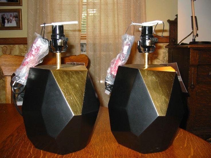 Pair of Nate Berkus Black and Gold Faceted Modern Lamp Bases NWT Table Light #NateBerkus #Modern