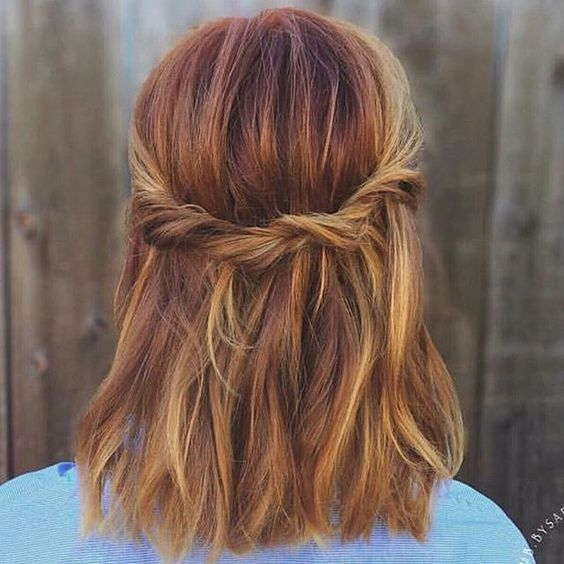 Shoulder-Length Long Bob with Pumpkin Spice Color, Blonde Highlights, and a Twist Crown
