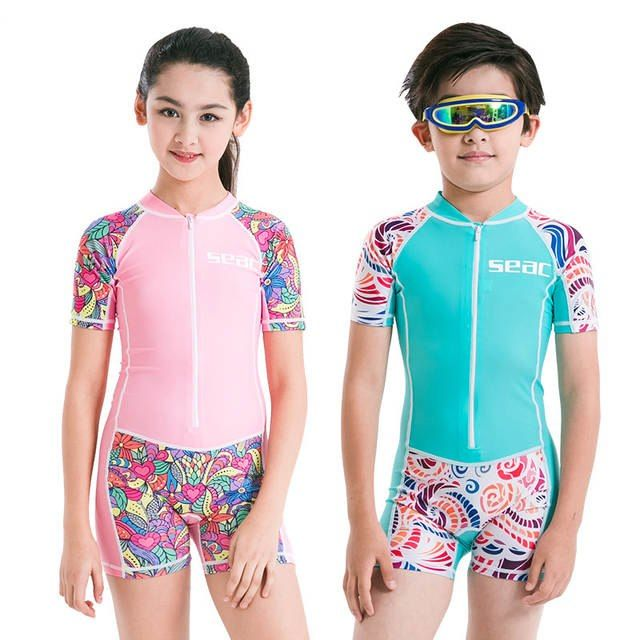 21605146e One Piece Diving Suit Children Wetsuit Kids Boys Girls Short Sleeve UV  protection Surfing Sport Suit Diving Clothes Surf Wetsuit
