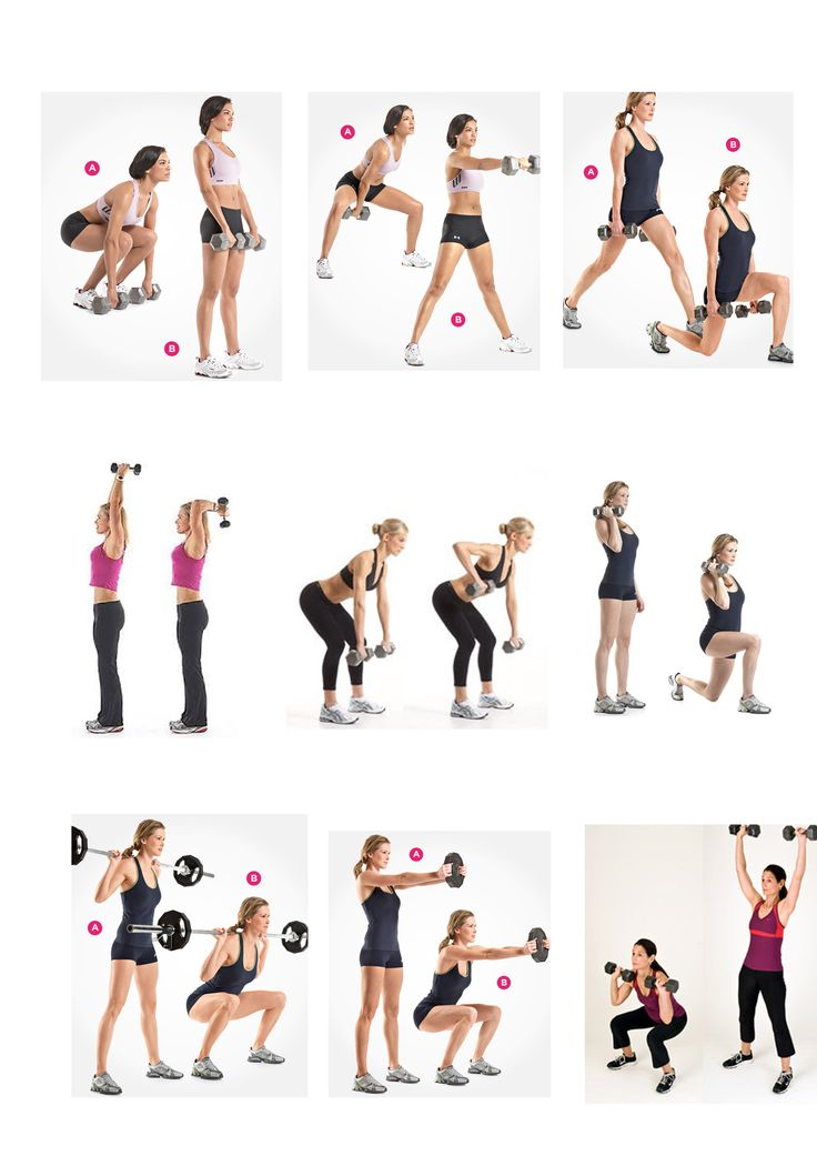 dumbell exercises - I don't have the equipment for all of these, but it saves having to find a gym.