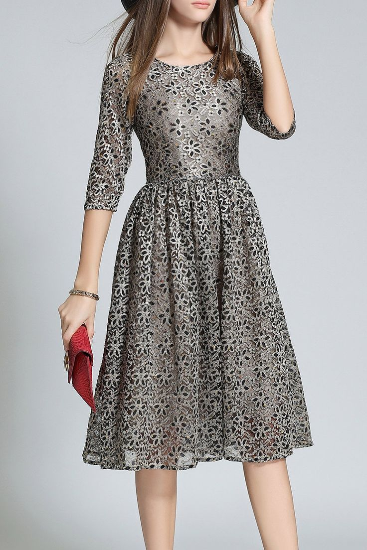 Sequined Lace A Line Dress