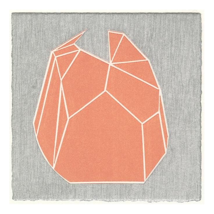 """j.c.s."" Woodblock printing, oil based ink printed on Rives BFK paper, 2009, 15x15cm, by Yasuyoshi Tokida, 常田泰由"