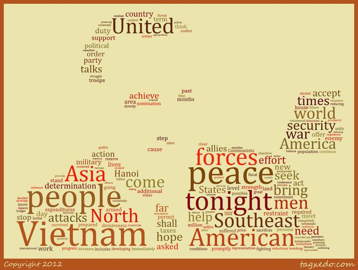 Lyndon Baines Johnson no re-election speech word cloud