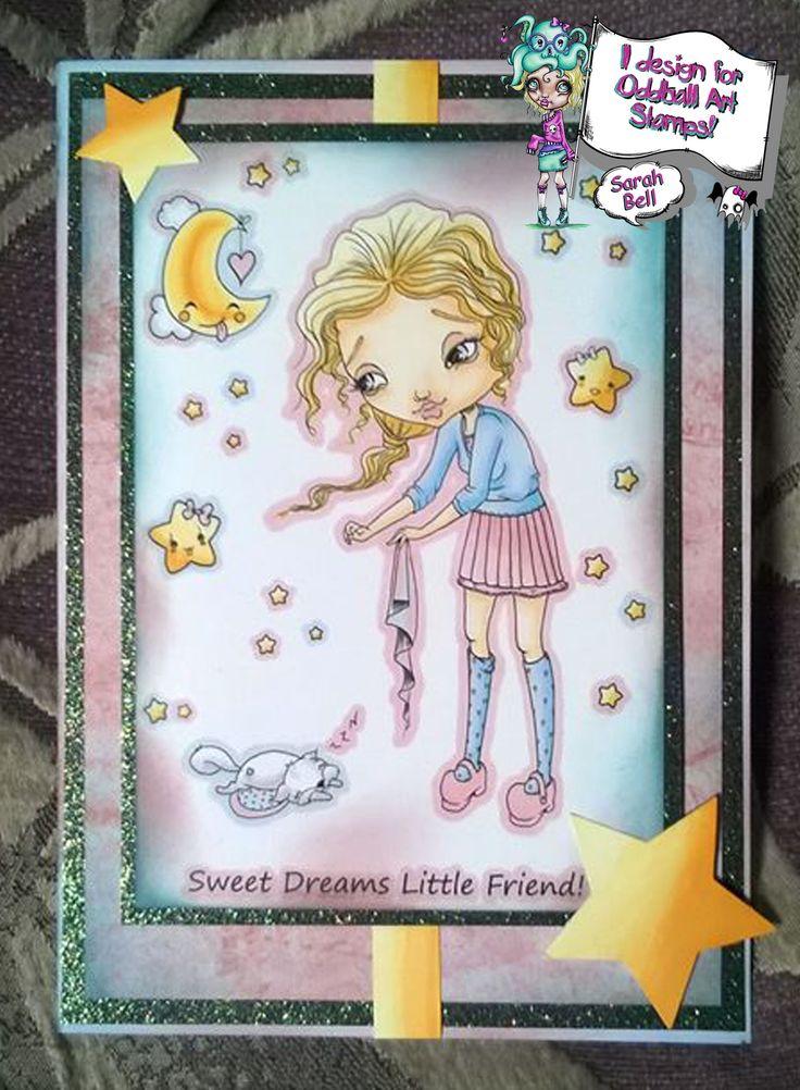 "Designed by Sarah Bell - DT Card using Oddball Art Stamp - No. 188  Big Eye Girl Lacey Tucks in ""Sleepa Alot"" Squirrel - Sweet Dreams"