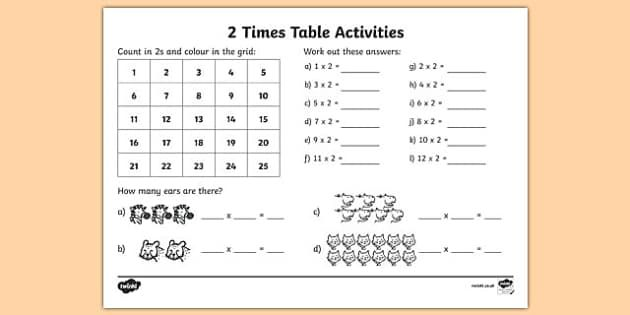 This Little Activity Is Great For Increasing Your Children S Confidence With The 2 Times Table Begin By Sha 2 Times Table Times Tables 2 Times Table Worksheet