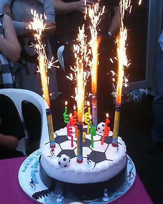 6 Fountain Candles Cake big Birthday flame Candles 6 Pack