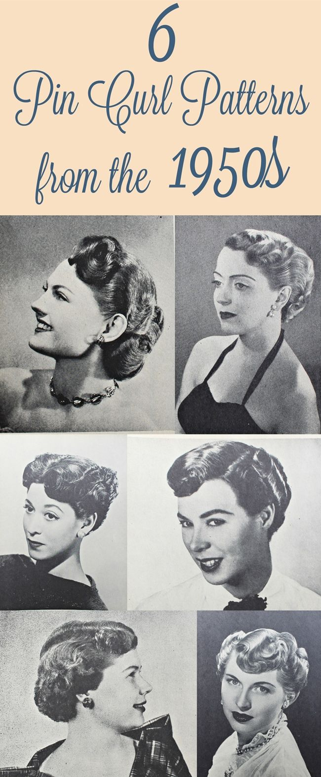 6 pin curl hair setting and styling patterns from the 1950s from Va-Voom Vintage