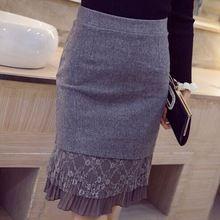 Новое поступление 2015 осень и зима мода кружева лоскутное высокая талия офис юбки женщины элегантный тонкий миди юбки карандаш S34(China (Mainland))