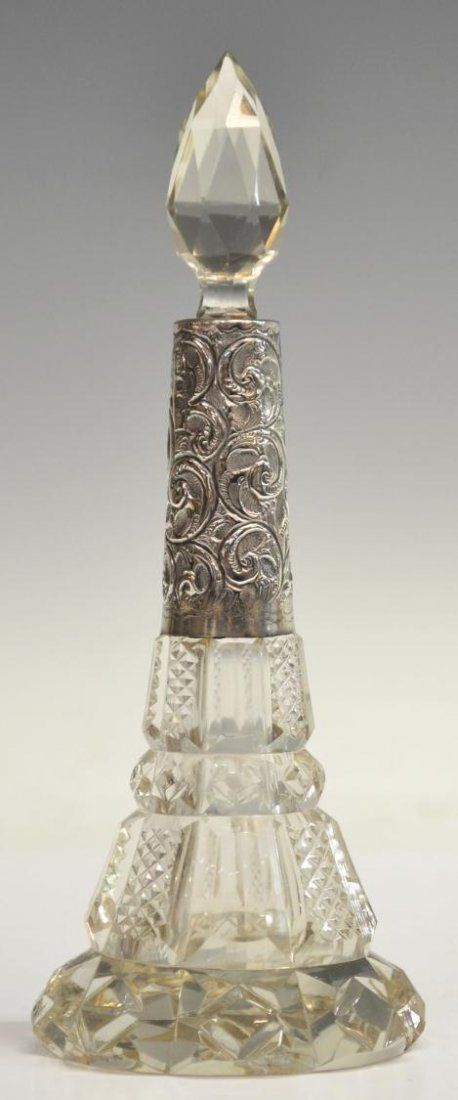 ENGLISH CUT GLASS & STERLING SILVER SCENT BOTTLE