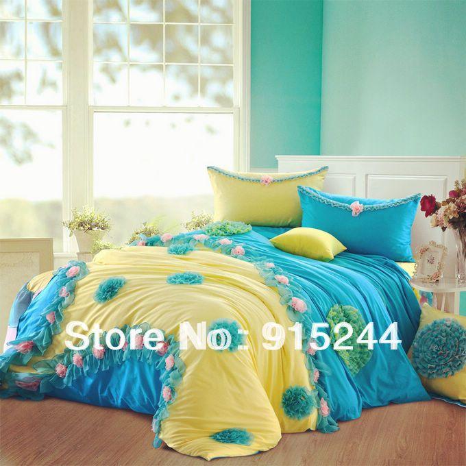 Blu giallo coreano principessa gonna letto montato lenzuola 6 pz set 100% cotone biancheria da letto di lusso del merletto, re, regina duvet copertura materasso(China (Mainland))