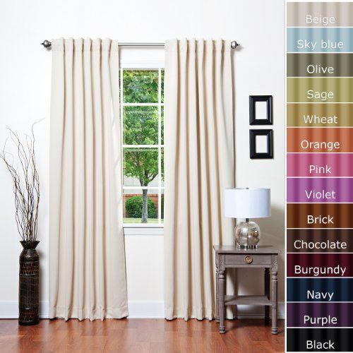 """Solid Thermal Insulated Back Tap Blackout Curtain 84""""L- 1 Se"""