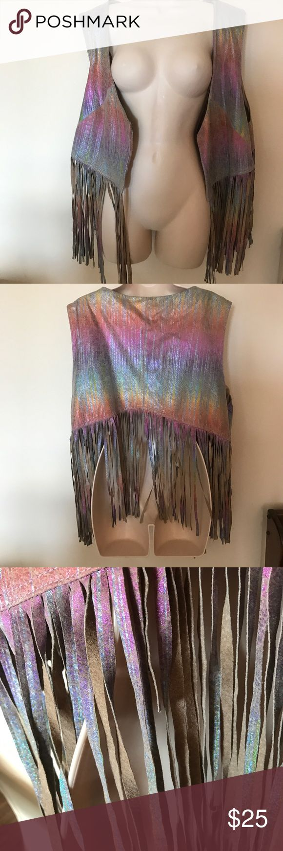 ASOS Curve iridescent fringe vest The coolest vest ever! Real leather and so funky! I love this but sadly never wear it, so it needs love! A few of the fringed are shorter than others from breaking off, but overall great condition! Fringe included, vest is 23 inches long and 26 inches wide. ASOS Curve Jackets & Coats Vests
