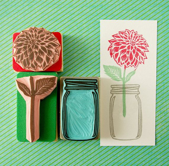 Dahlia rubber stamp, Flower glass Jar, Mason Jar, Carved rubber stamp, wedding invitation