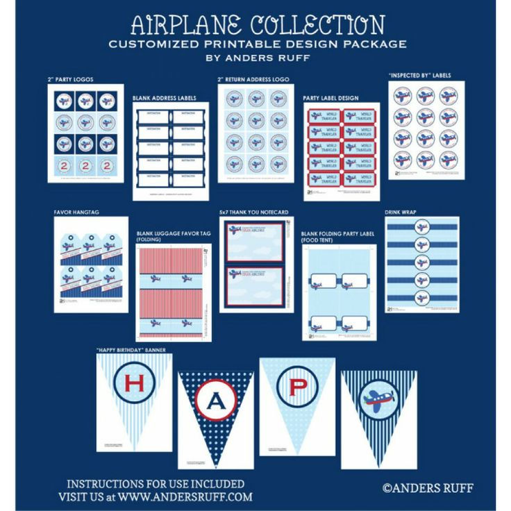 Airplane Birthday Party Printable Collection Best 100