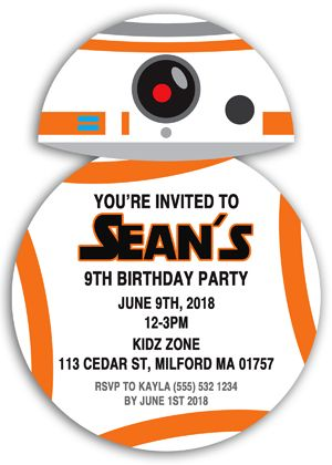 Looking for personalized invitations? These star wars inspired bb-8 die-cut birthday party invitations make excellent occasions.