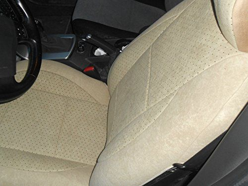 BMW 5 Series 1988-........ Mix Velour & Synthetic Two Front Custom Car Seat Covers (BMW E39 1995-2003, ALL TAN (BEIGE))