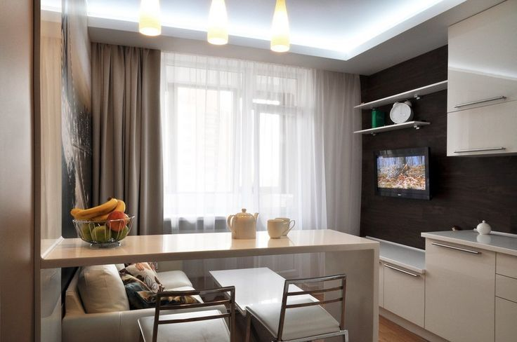 Интерьер кухни-гостиной в небольшой квартире