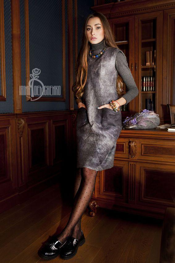Купить Валяное платье «Just grey» - серый, street style, валяное платье