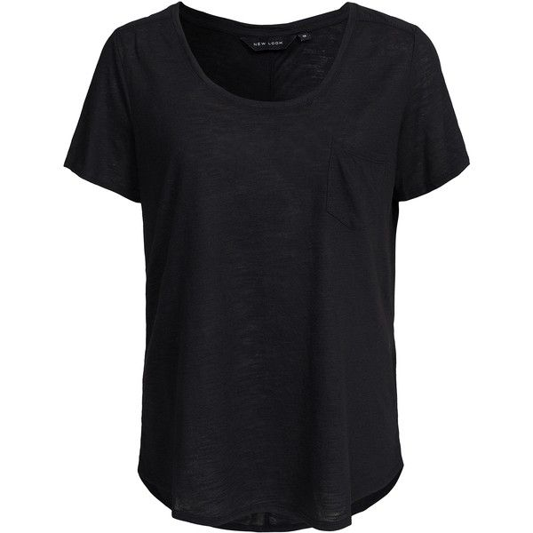 New Look Easy Pocket Tee ($10) ❤ liked on Polyvore featuring tops, t-shirts, black, womens-fashion, pocket tops, pocket tee, tall pocket tees, tall t shirts and black pocket t shirt