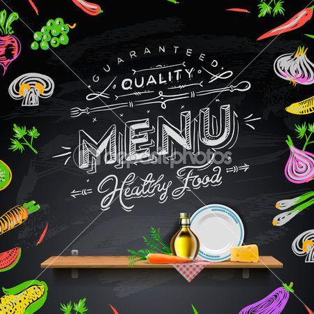 conjunto de elementos de diseño para el menú en el pizarrón del vector — Imagen de stock #19648495