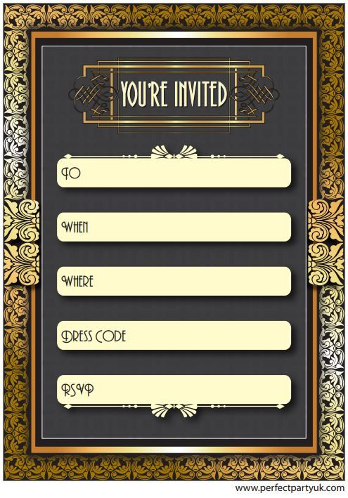 1920s Great Gatsby party invitation! Get the free printable at http://www.perfectpartyuk.com ...