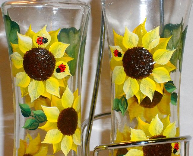 Sunflower hand painted oil and vinegar bottles set with for Set painting techniques