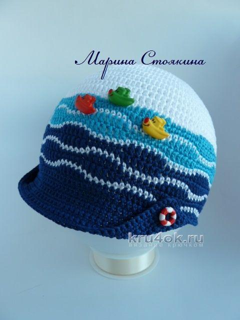 Кепка для мальчика и шапочка для девочки в морском стиле вязание и схемы вязания - Марина Стоякина