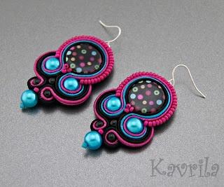K Avril - Jewellery author. soutache Neon Mix Earrings. length 6.5cm