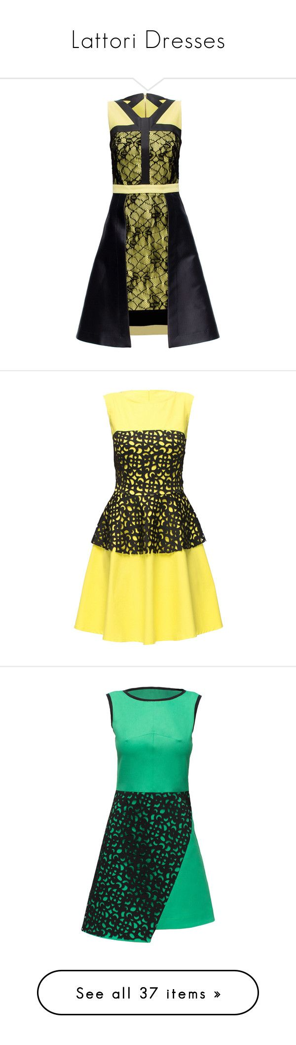 """Lattori Dresses"" by lulucosby ❤ liked on Polyvore featuring dresses, lattori, short dresses, yellow mini dress, short sparkly dresses, yellow dress, short lace dress, slim fit dress, cotton corset and yellow corset"