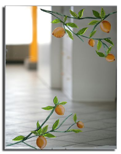 Mirror decor lemons fused glass mirrors Bottega Arts | Amalfi Coast