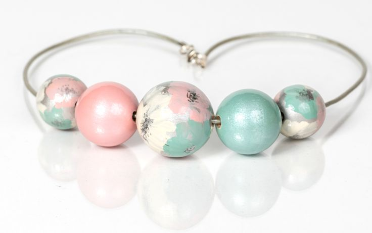 wooden balls#handpainted#baboon yewellery#mint#rose#necklace