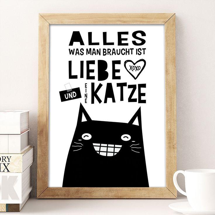 Ein super lustiger Spruch als A4 Wandbild für alle Katzen Liebhaber. Die lachende Katze sieht richtig komisch und sehr modern aus. Ein tolles Geschenk für Miezen und eine schöne Deko für Zuhause.