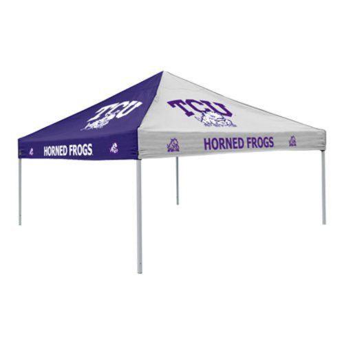 NCAA Pinwheel Canopy NCAA Team: TCU by Logo Chairs. $219.95. 215-42 NCAA Team: TCU Features: -Pinwheel tent.-Material: Polyester / steel.-Logo on all sides of the canopy.-Durable water resistant polyester canopy.-With a powder coated steel frame. Dimensions: -Dimensions: 108'' H x 108'' W. Collection: -Collegiate collection.