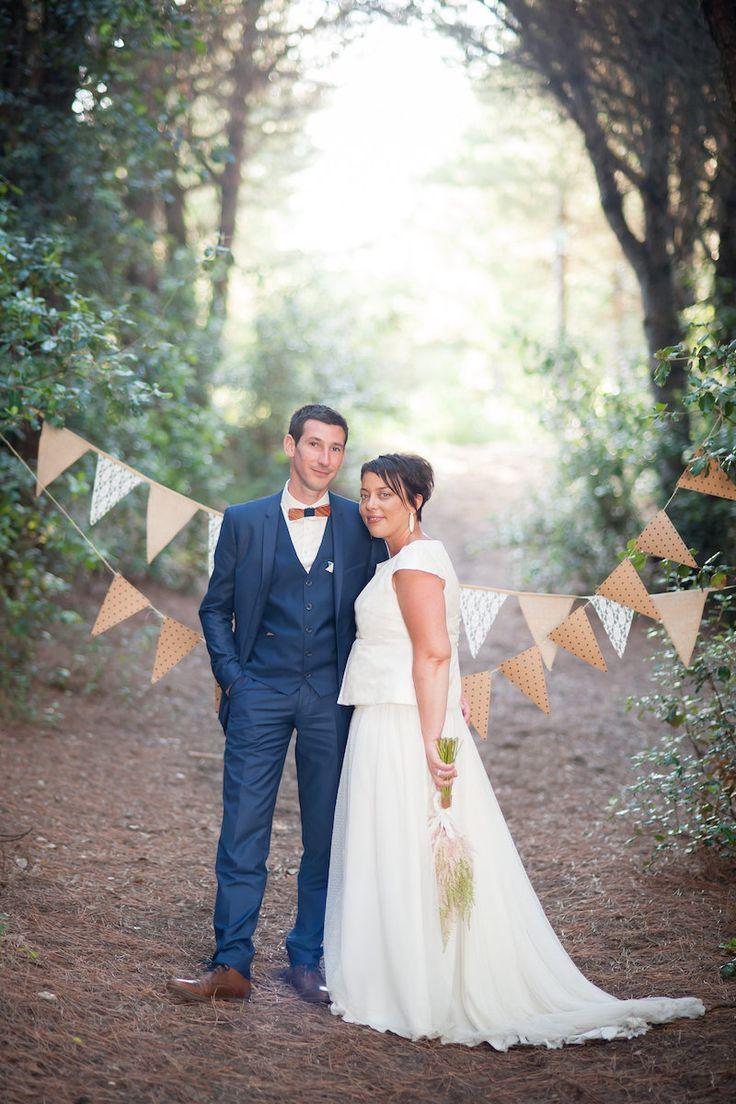 Robe de mariée jupe plumetis fluide et top évasé
