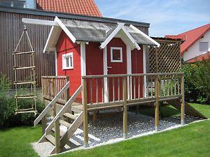 Kinderspielhaus Spielhaus Stelzenhaus Terrasse Schwedenhaus Haus Garten | eBay