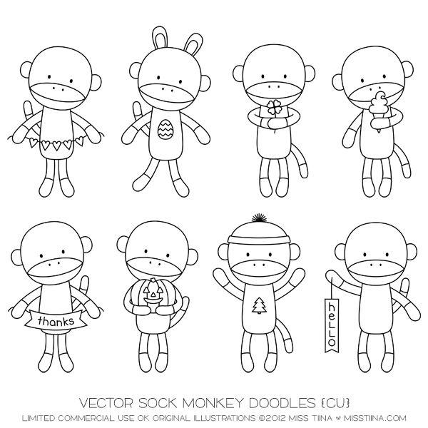 Vector Sock Monkey Doodles {CU}
