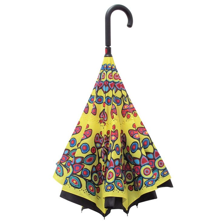 Norval Morrisseau Floral on Yellow Artist Up-Umbrella