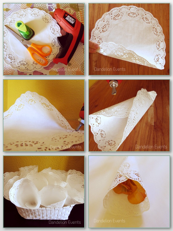 DIY conos para pétalos con blonda. DIY paper doily cons for petals or confetti.
