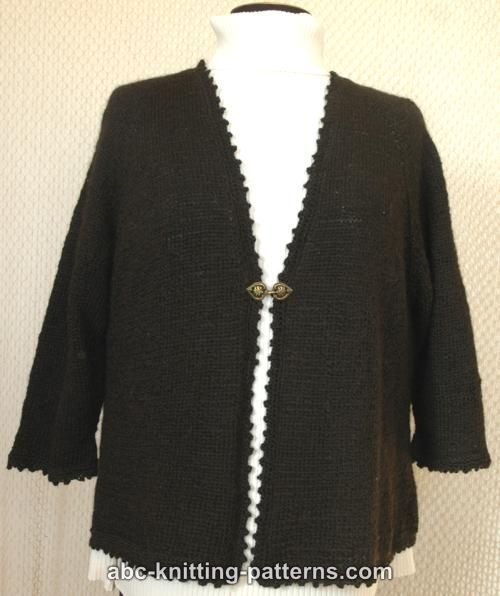 ABC Knitting Patterns - Basic Knitted Cardigan with Crochet Finish