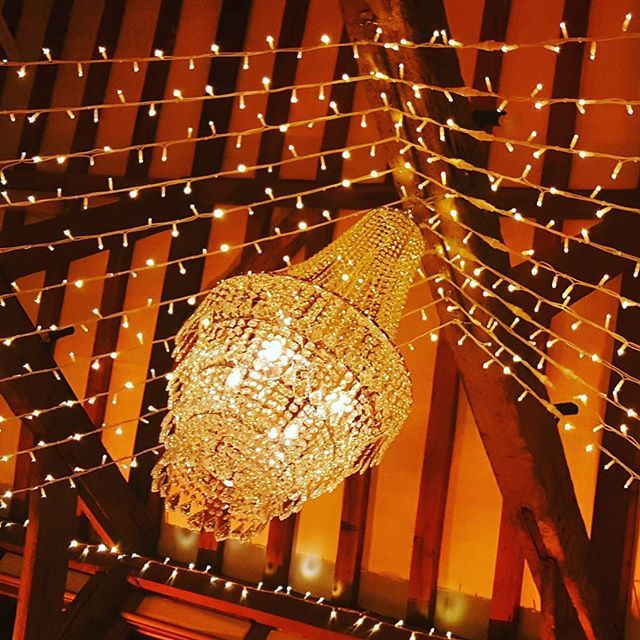 #wedding #fawazandlouise #tithebarn #loseleypark #chandelier #fairylights