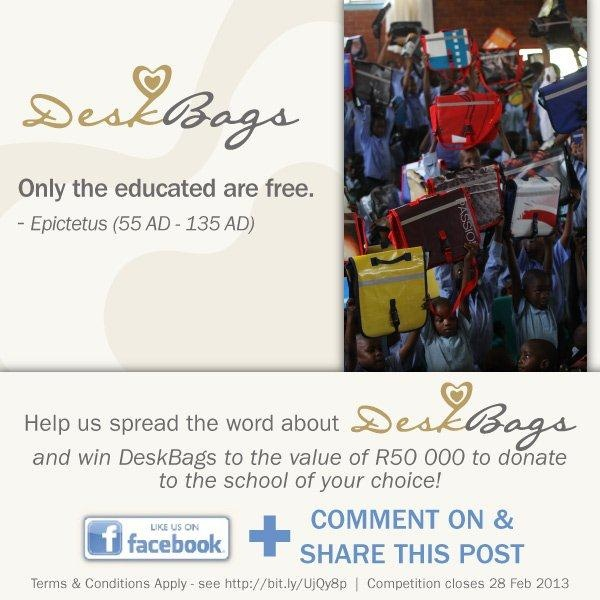 Only the educated are free. - Epictetus (55AD - 135AD)    **Help us spread the word about DeskBags and win DeskBags to the value of R50,000 to donate to the school of your choice! - to enter just comment and share on this post**