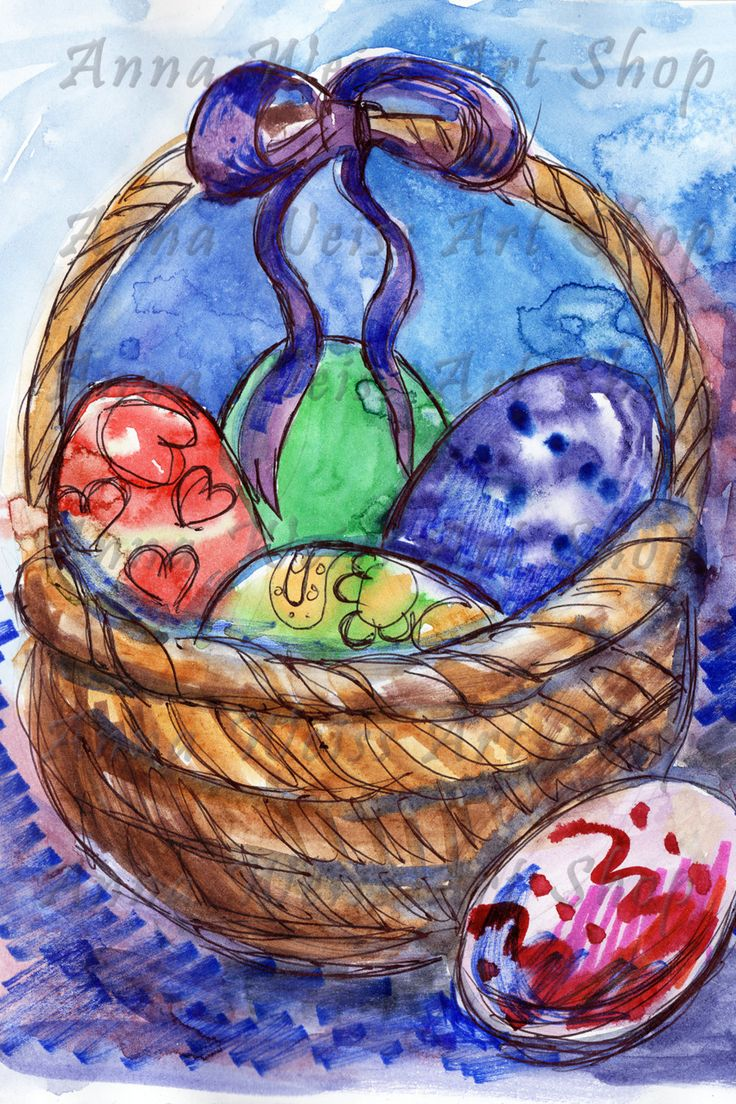 Easter Greeting Card digital watercolor markers artwork for print basket colorful eggs hand painted fine art russian artist home decoration by AnnaWeissArt on Etsy
