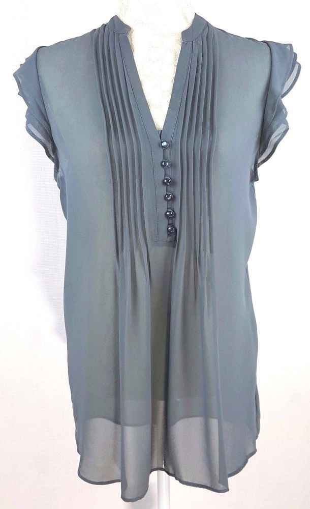 55c0ec83fbde8 Lily White Womens Top Sheer Sleeveless Dark Gray Tie Back Pleated Front  Shirt  LilyWhite  Blouse  Any