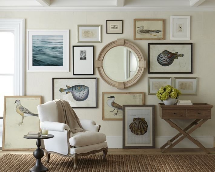 Another great collection, interesting fish, birds and shells.  Brought together by a neutral color palette, but still an unique mix of art.  Love the round mirror as the center highlight!  Hmmm....now, that's an idea that I could start with?