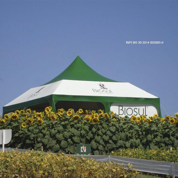 Tenda Estruturada em 7x7 metros com fechamento nas laterais fabricada pela Orvalho do Sol para a Biosul. Estrutura de encaixes e manoplas que além de ser fácil de montar é ótima para armazenar. Peça um orçamento conosco: www.orvalhodosol.com.br (11) 5687-1001