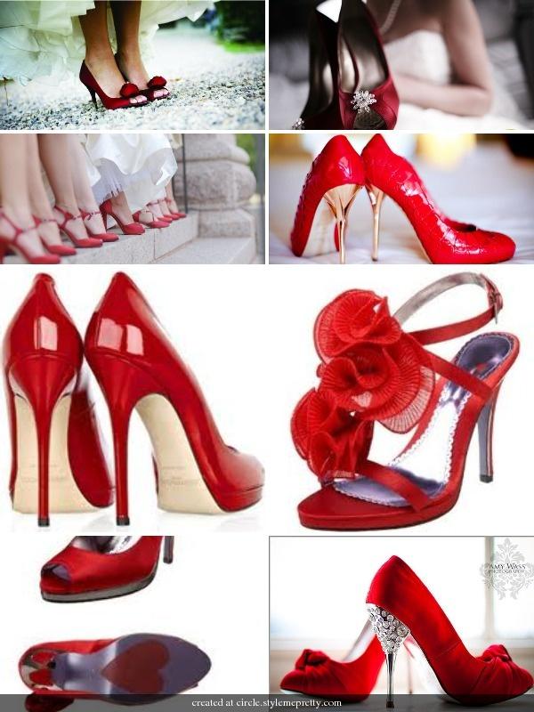 Rode schoenen voor een Valentijn bruid