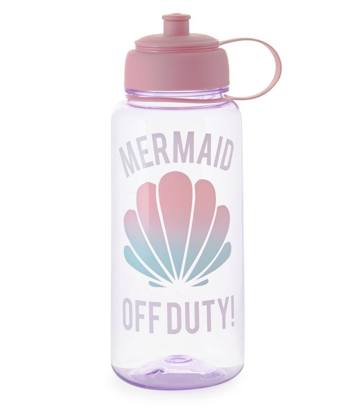 Purple Mermaid Off Duty Print Water Bottle | New Look